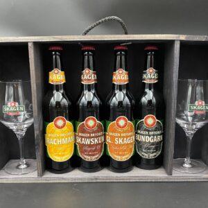 Træ-gavekasse m/øl & glas